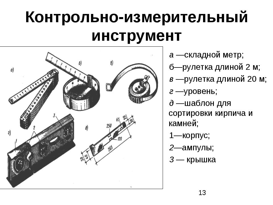 Контрольно-измерительный инструмент а —складной метр; б—рулетка длиной 2 м; в...