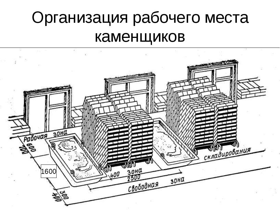 Организация рабочего места каменщиков 1600