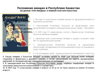 Положение женщин в Республике Казахстан (по данным «ООН Женщины» и Феминистск