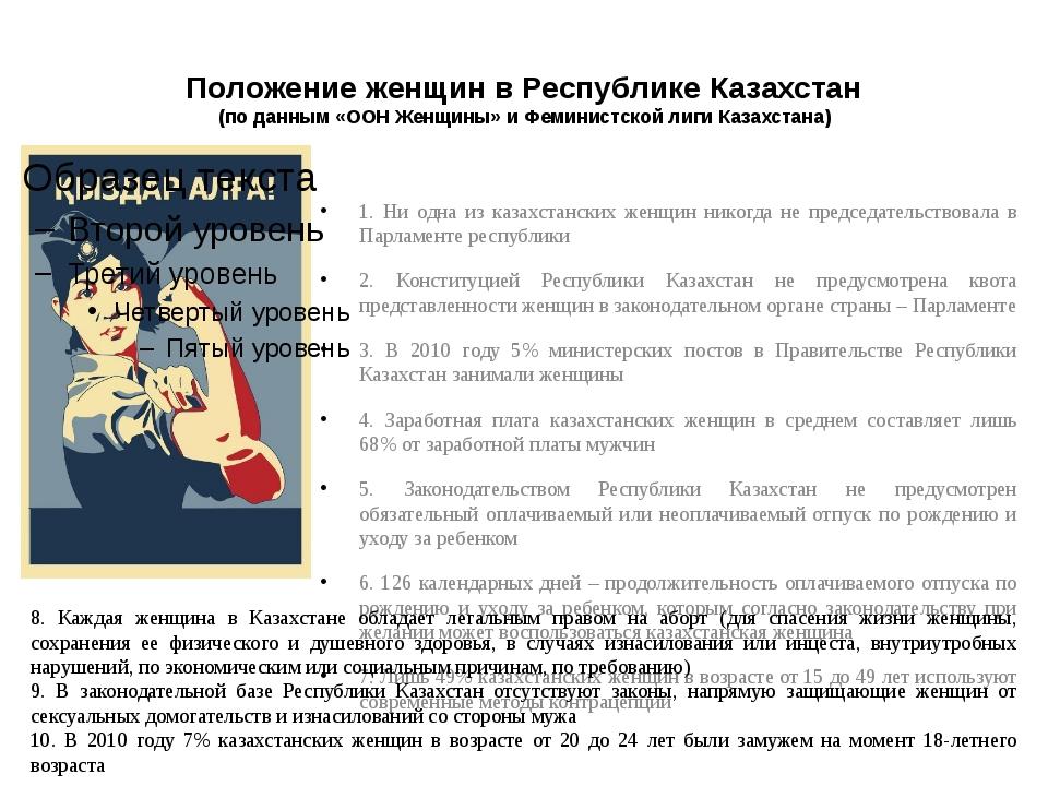 Положение женщин в Республике Казахстан (по данным «ООН Женщины» и Феминистск...