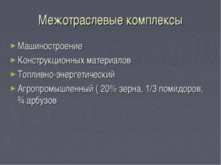 Межотраслевые комплексы Машиностроение Конструкционных материалов Топливно-эн