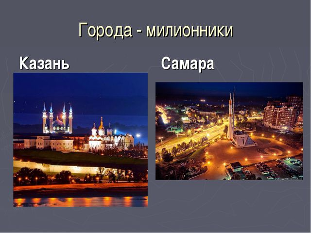 Города - милионники Казань Самара