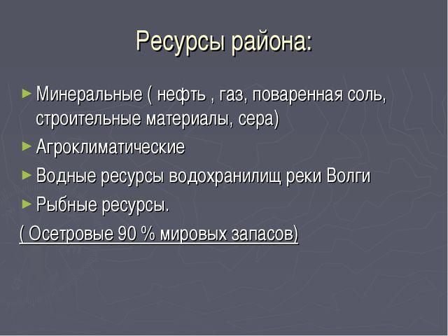 Ресурсы района: Минеральные ( нефть , газ, поваренная соль, строительные мате...