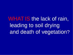 WHAT IS the lack of rain, leading to soil drying and death of vegetation?