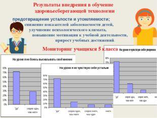 Результаты внедрения в обучение здоровьесберегающей технологии предотвращение