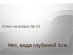 Нет, вода глубиной 1см Ответ на вопрос № 23