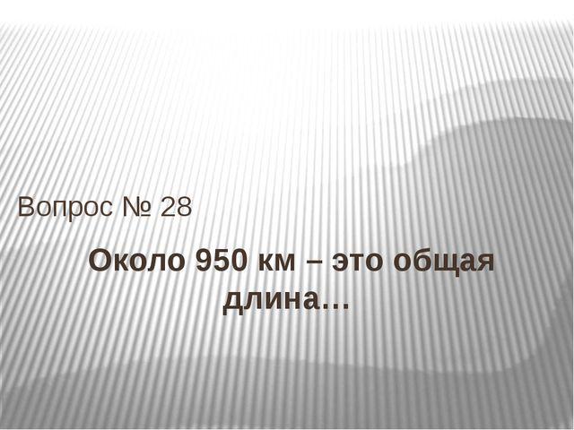 Около 950 км – это общая длина… Вопрос № 28
