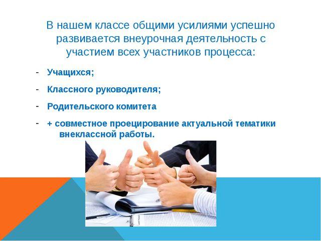 В нашем классе общими усилиями успешно развивается внеурочная деятельность с...