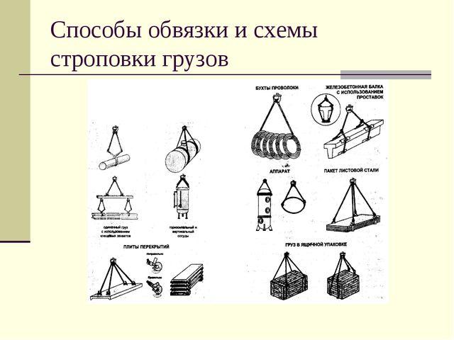 Способы обвязки и схемы строповки грузов