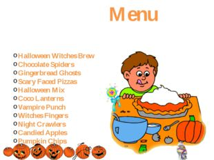 Menu Halloween Witches Brew Chocolate Spiders Gingerbread Ghosts Scary Faced