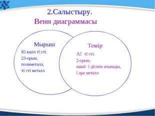 2.Салыстыру. Венн диаграммасы Мырыш Темір Көкшіл түсті 23-орын, полиметалл, т