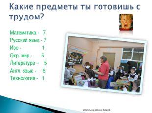 Математика - 7 Русский язык - 7 Изо - 1 Окр. мир - 5 Литература – 5 Англ. язы