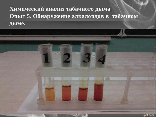 Химический анализ табачного дыма. Опыт 5. Обнаружение алкалоидов в табачном д...