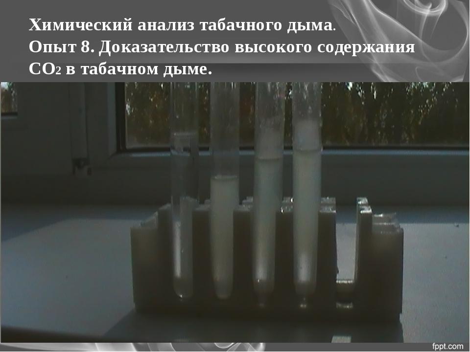 Химический анализ табачного дыма. Опыт 8. Доказательство высокого содержания...