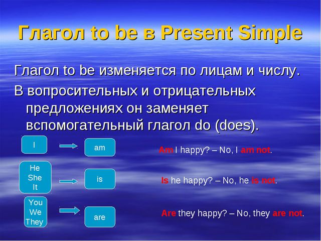 Глагол to be в Present Simple Глагол to be изменяется по лицам и числу. В воп...