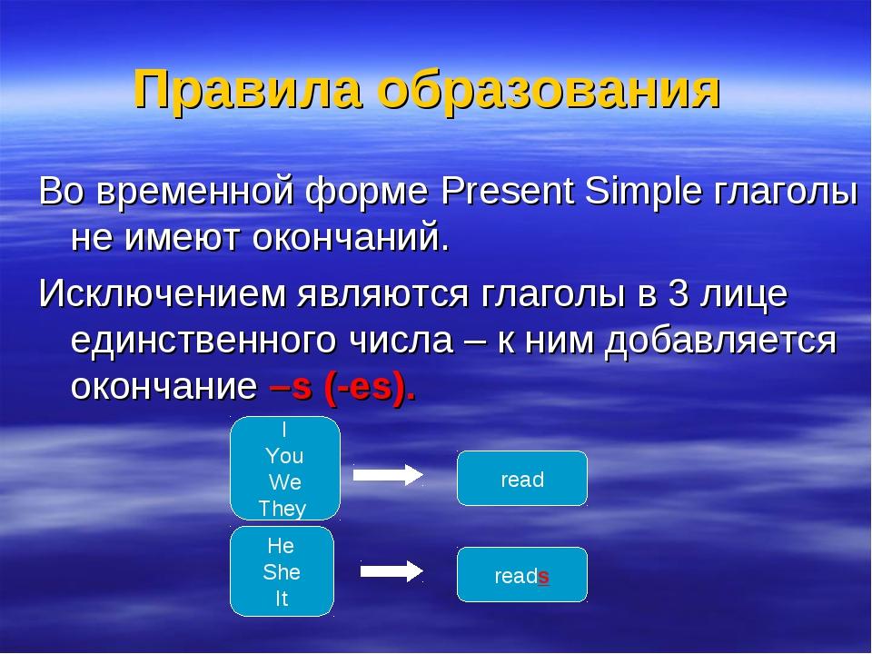 Правила образования Во временной форме Present Simple глаголы не имеют оконча...