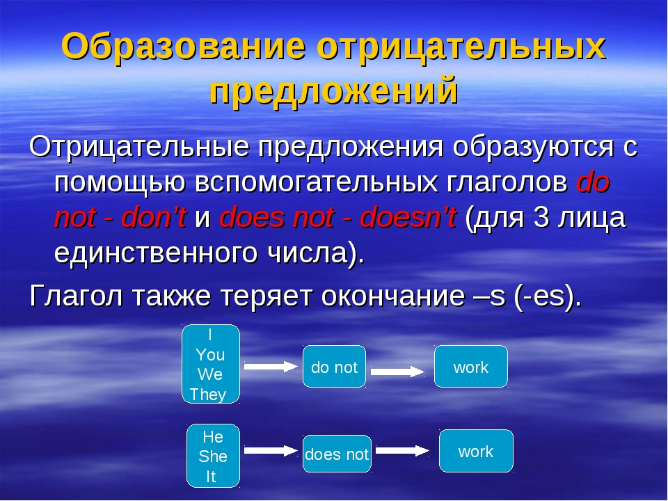 Образование отрицательных предложений Отрицательные предложения образуются с...