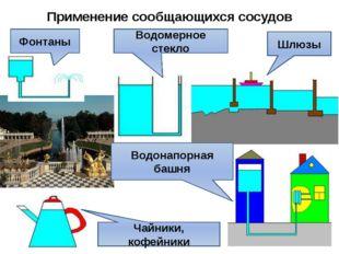Применение сообщающихся сосудов Водомерное стекло Шлюзы Чайники, кофейники Во