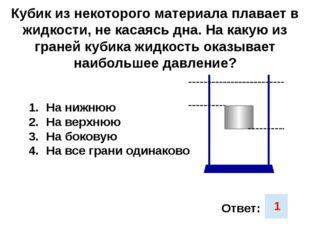 Кубик из некоторого материала плавает в жидкости, не касаясь дна. На какую из