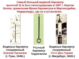 Водяные барометр сооруженный Блезом Паскалем (г. Руан, 1646г.) Водяные баром