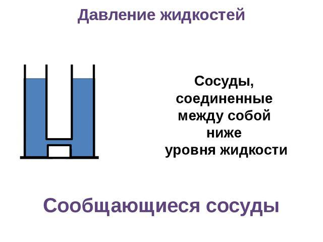 Сообщающиеся сосуды Сосуды, соединенные между собой ниже уровня жидкости Дав...