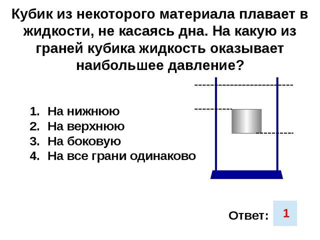 Кубик из некоторого материала плавает в жидкости, не касаясь дна. На какую из...