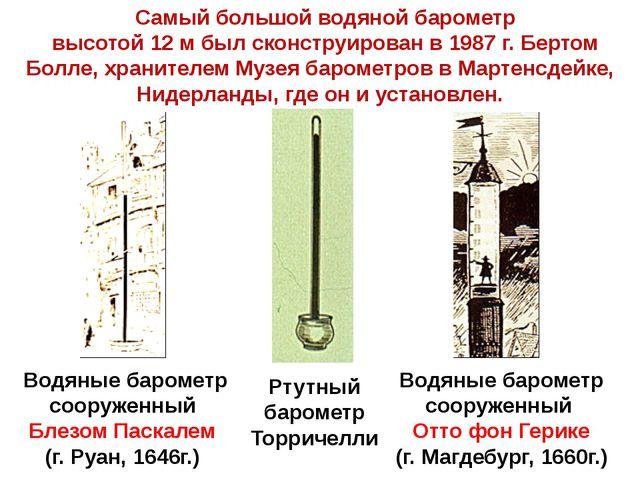 Водяные барометр сооруженный Блезом Паскалем (г. Руан, 1646г.) Водяные баром...