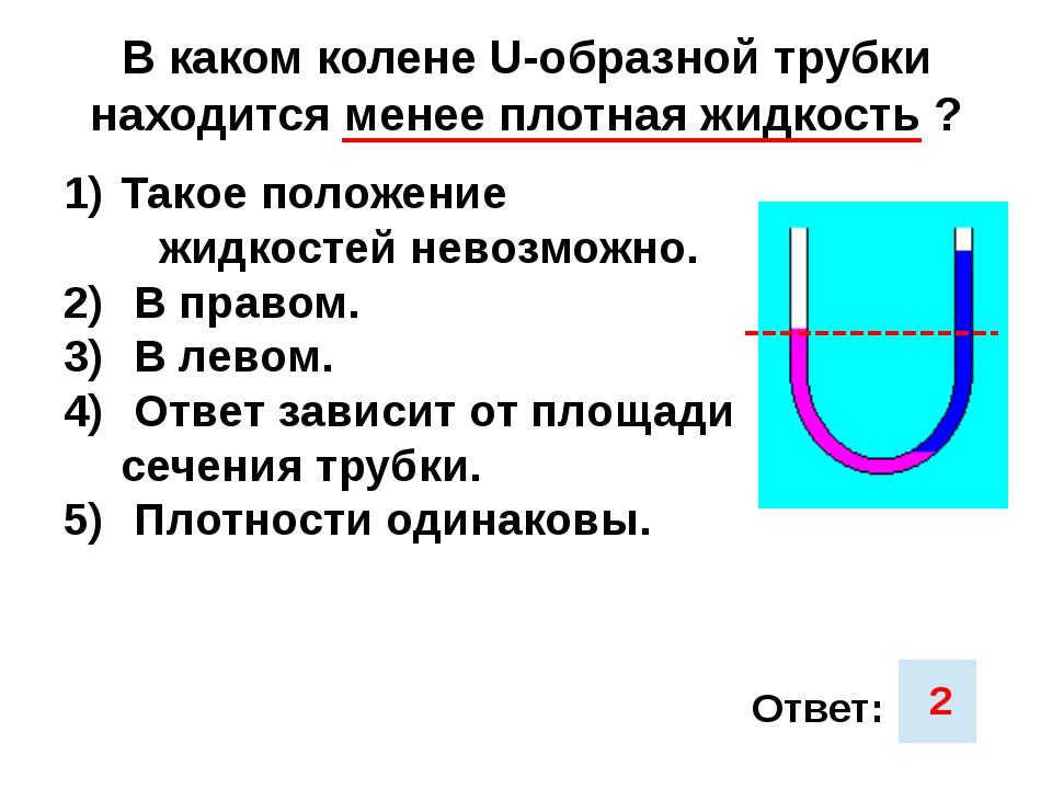 В каком колене U-образной трубки находится менее плотная жидкость ? Такое пол...