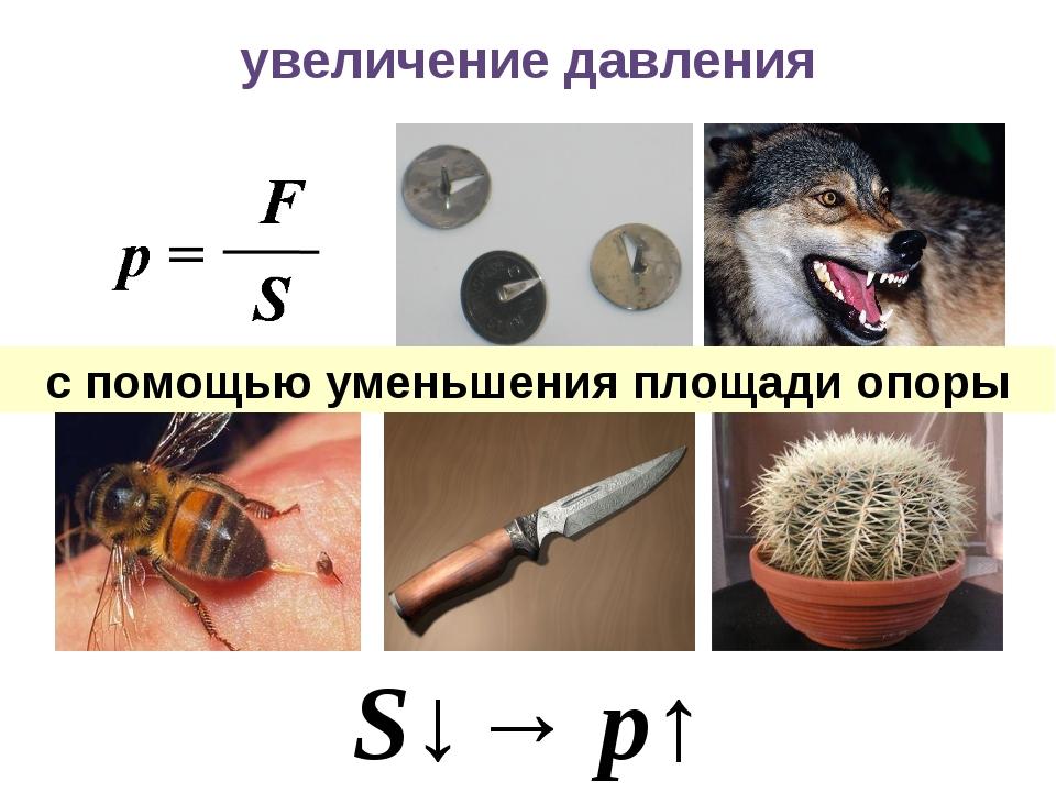 увеличение давления S↓→ p↑ с помощью уменьшения площади опоры