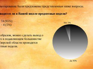 Для анкетирования были предложены представленные ниже вопросы.  1. Проводятс