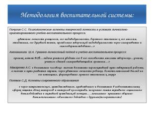 Методология воспитательной системы: Пичугин С.С. Психологические аспекты твор