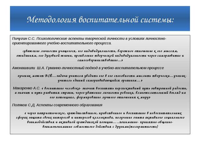 Методология воспитательной системы: Пичугин С.С. Психологические аспекты твор...