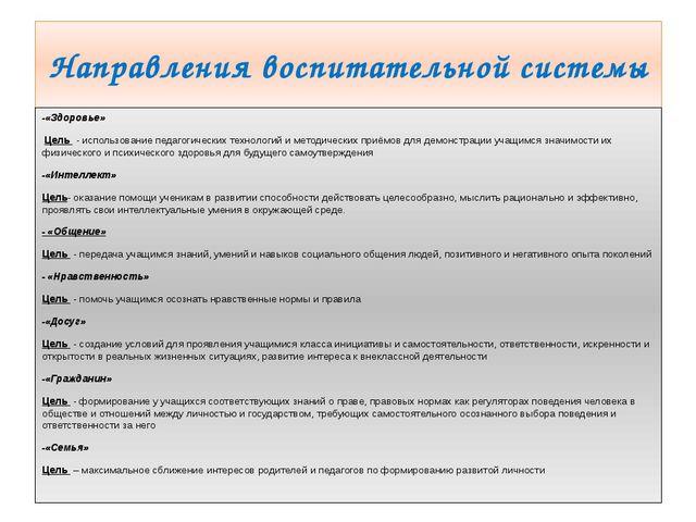 Направления воспитательной системы -«Здоровье» Цель - использование педагоги...