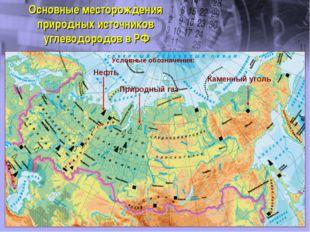 Основные месторождения природных источников углеводородов в РФ Нефть Природны