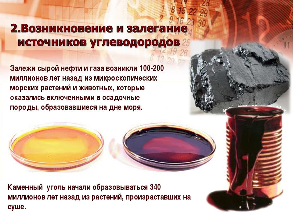 Залежи сырой нефти и газа возникли 100-200 миллионов лет назад из микроскопич...