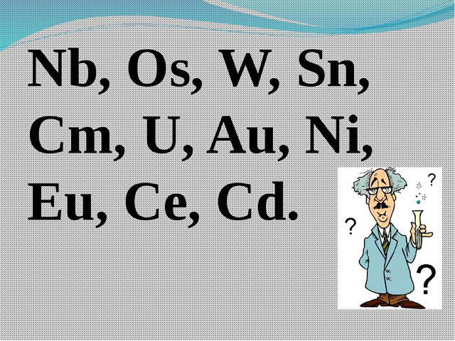 Nb, Os, W, Sn, Cm, U, Au, Ni, Eu, Ce, Cd.