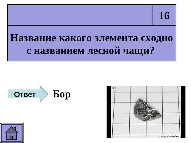 Название какого элемента сходно с названием лесной чащи? 16 Ответ Бор