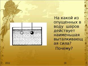 На какой из опущенных в воду шаров действует наименьшая выталкивающая сила?