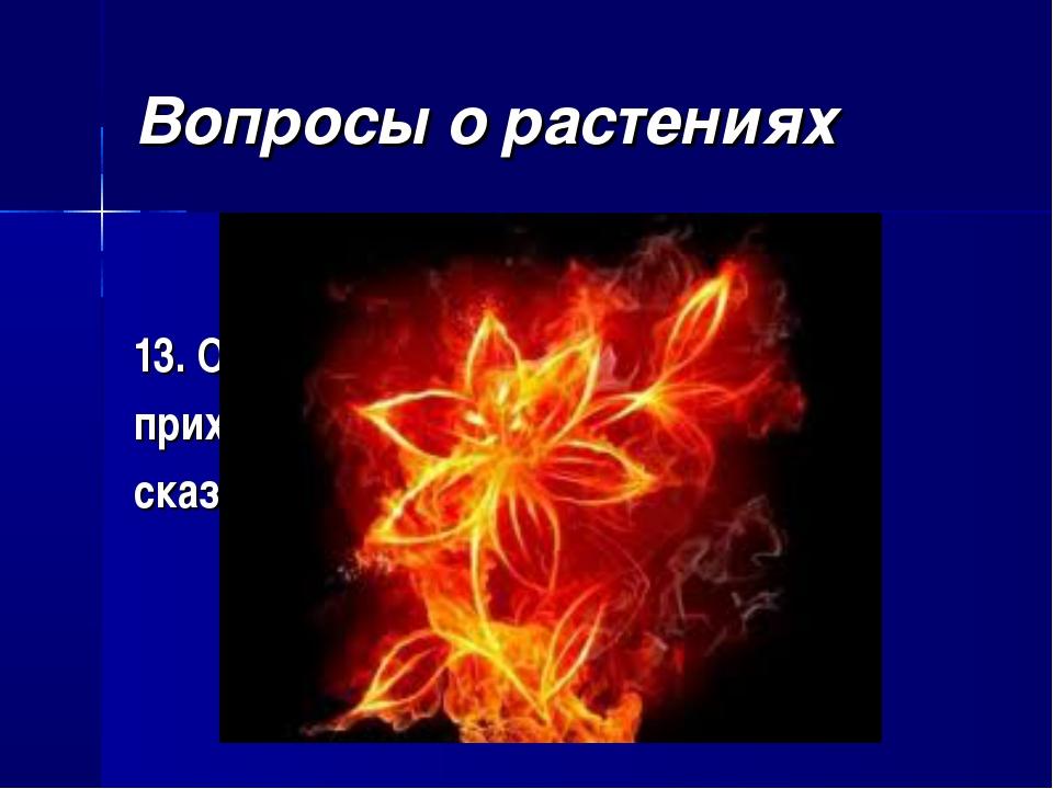 Вопросы о растениях 13. От какого «красного цветка» приходил в ужас тигр Шерх...