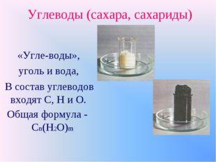 Углеводы (сахара, сахариды) «Угле-воды», уголь и вода, В состав углеводов вхо