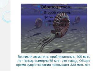 Возникли аммониты приблизительно 400 млн. лет назад, вымерли 65 млн. лет наза