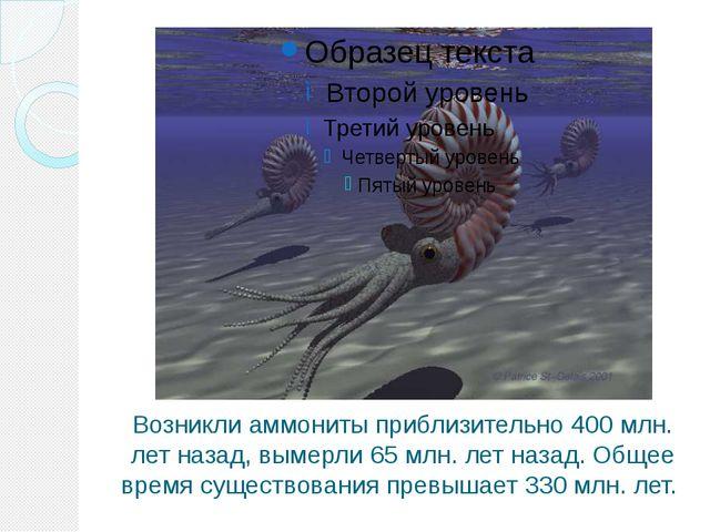 Возникли аммониты приблизительно 400 млн. лет назад, вымерли 65 млн. лет наза...