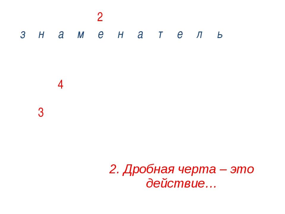 3. Как иначе называется числитель дроби? д  з н а м е н а т е л ь л    е...