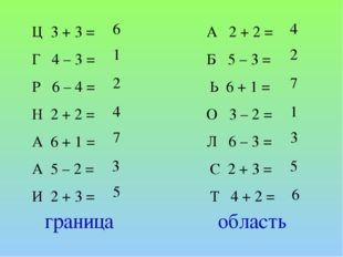 Ц 3 + 3 = Г 4 – 3 = Р 6 – 4 = Н 2 + 2 = А 6 + 1 = А 5 – 2 = И 2 + 3 = 1 1 2 4