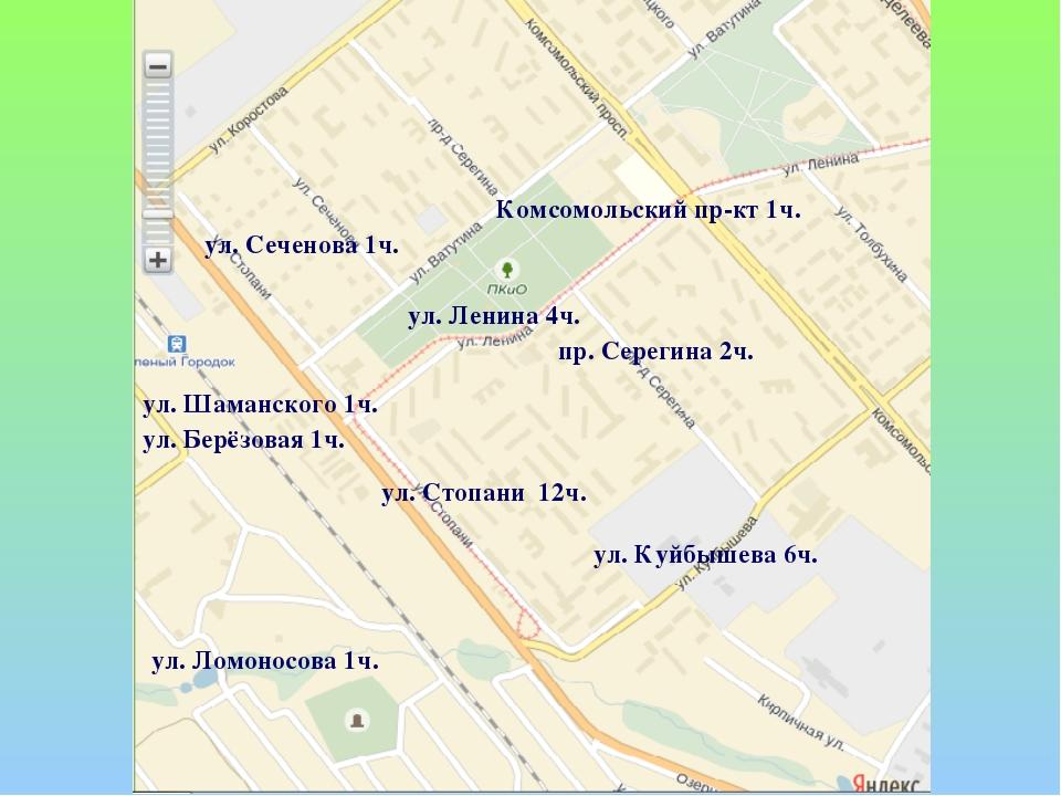 ул. Стопани 12ч. пр. Серегина 2ч. ул. Куйбышева 6ч. ул. Сеченова 1ч. ул. Лени...