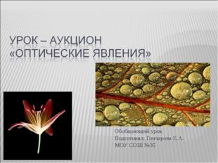 Обобщающий урок Подготовил: Гончарова Е.А. МОУ СОШ №35