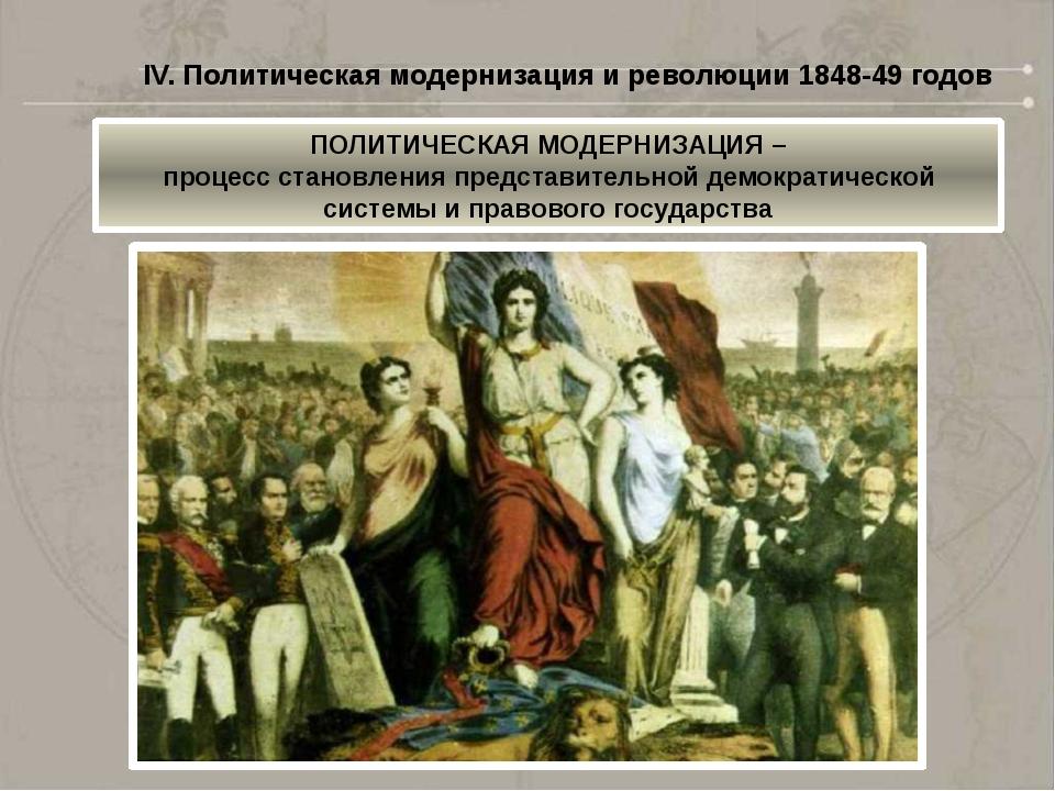 IV. Политическая модернизация и революции 1848-49 годов ПОЛИТИЧЕСКАЯ МОДЕРНИЗ...