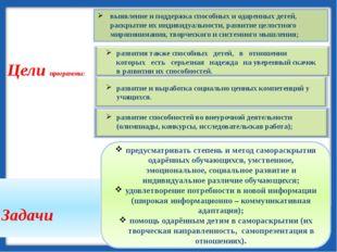 Цели программы:  выявление и поддержка способных и одаренных детей, раскрыти