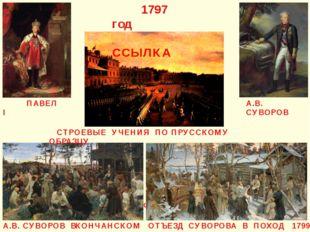 А.В. СУВОРОВ ПАВЕЛ I УЧЕНИЯ ПО ПРУССКОМУ ОБРАЗЦУ 1797 год ССЫЛКА СТРОЕВЫЕ УЧЕ
