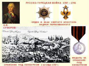 РУССКО-ТУРЕЦКАЯ ВОЙНА 1787 – 1791 А.В. СУВОРОВ СРАЖЕНИЕ ПОД КИНБУРНОМ 1 октяб